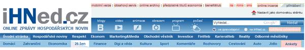 Ukázka značených nofollow odkazů na Ihned.cz