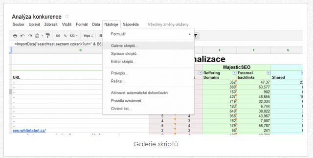 google spreadsheets SEO