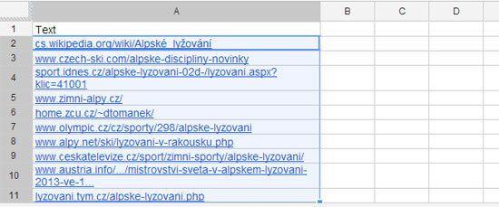 Výsledky scrapování v Google spreadsheetu