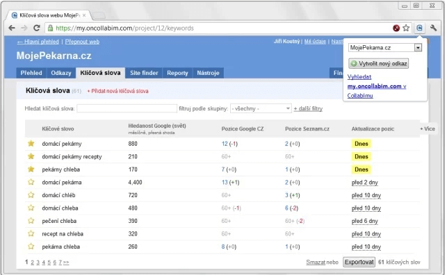 Rozšíření Collabimu pro Google Chrome