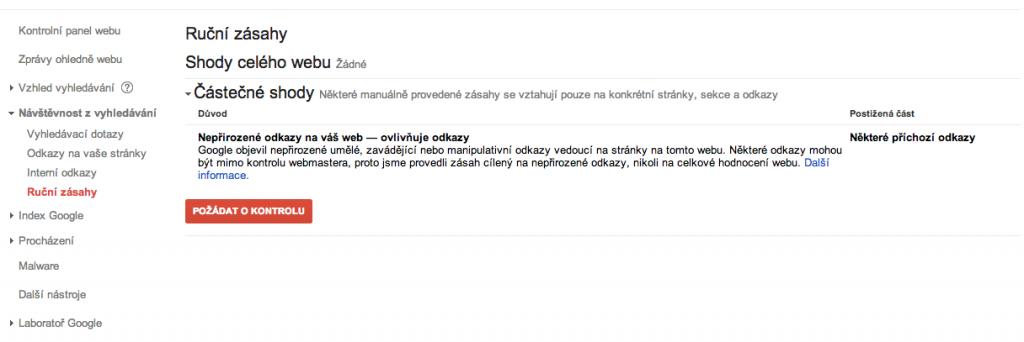 Ukázka oznámení o aplikaci ručního zásahu na část webu .