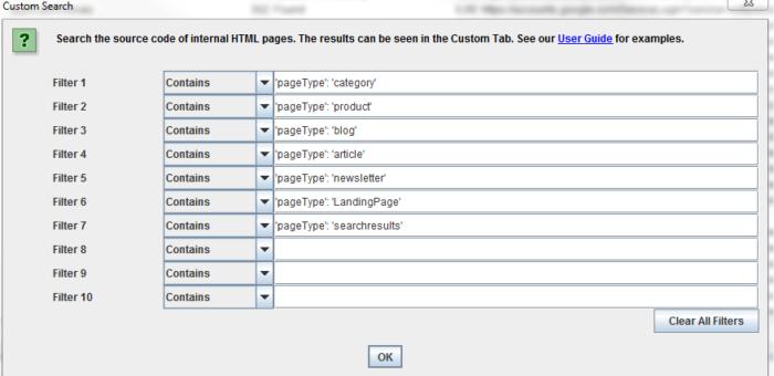 Hacky na rozlišení typů stránek ve Screaming Frogu 1