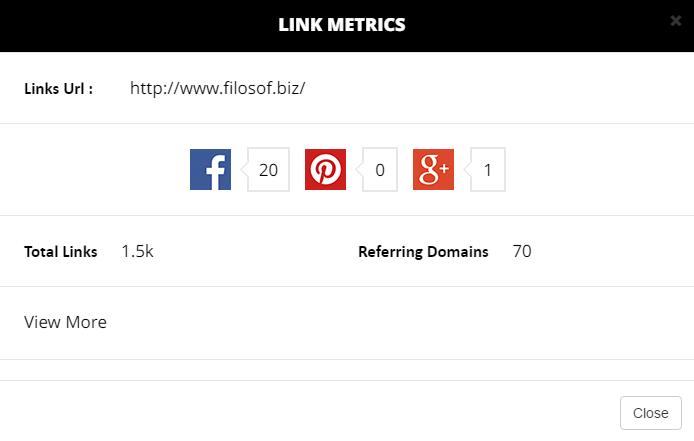 Odkazové metriky pro nefunkční link.