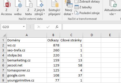 Odkazující domény z GSC v Excelu