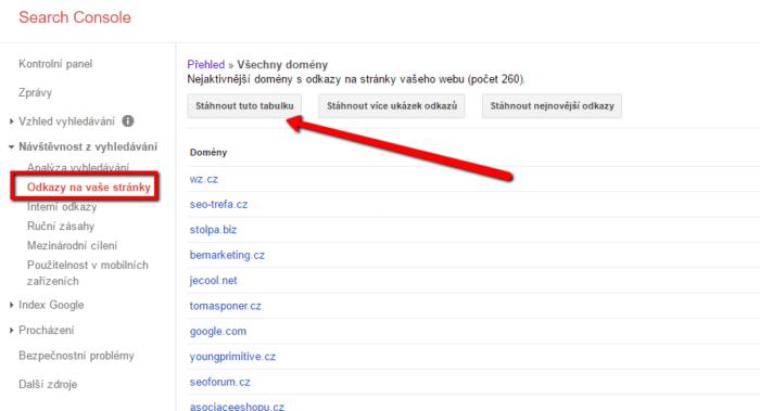 Odkazující domény v Google Search Console