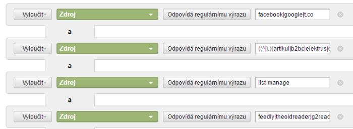 Výsledné nastavení filtru v Google Analytics