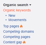 Organic search - data v Ahrefs