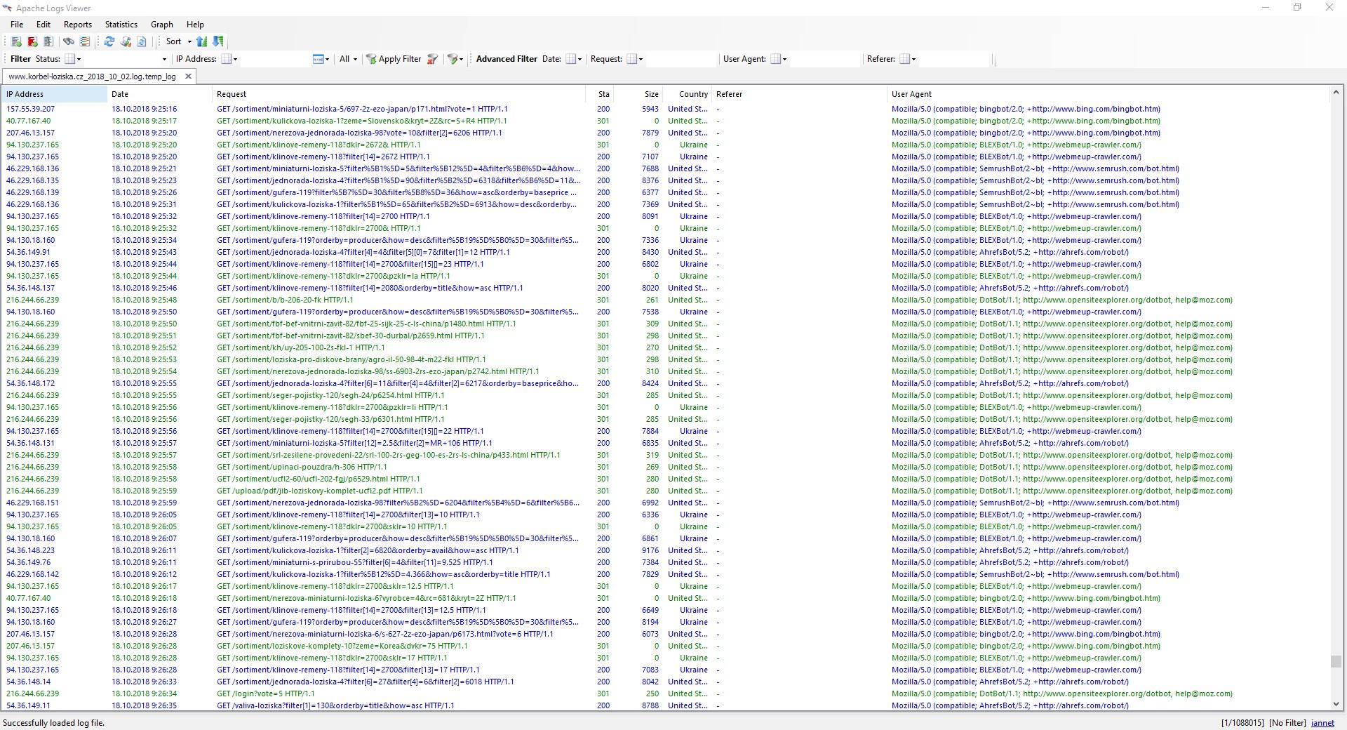 Takto vypadá Apache Logs Viewer spuštěný