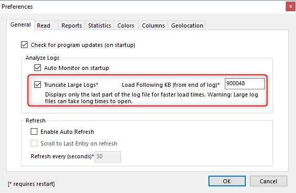Nastavení pro velikost souborů v Apache Logs Viewer