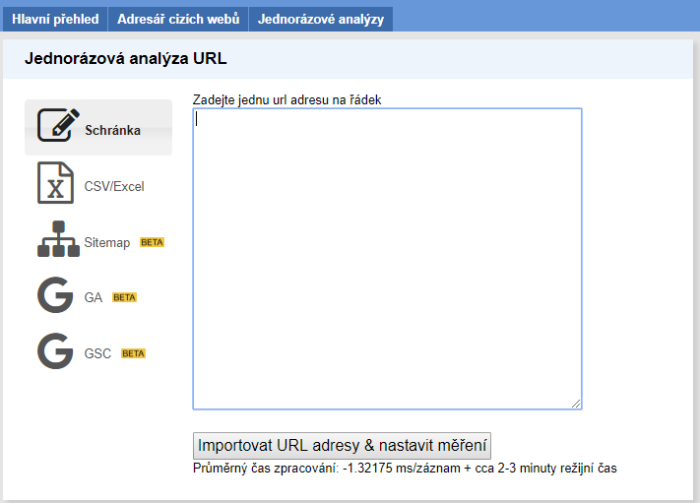 Sekce Analýza URL